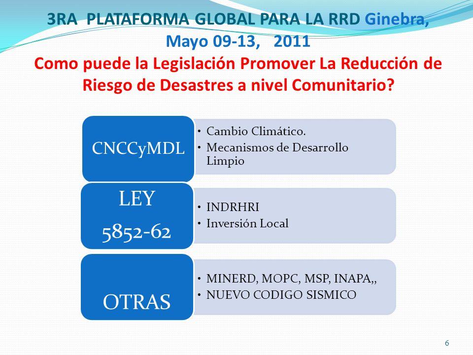 3RA PLATAFORMA GLOBAL PARA LA RRD Ginebra, Mayo 09-13, 2011 Como puede la Legislación Promover La Reducción de Riesgo de Desastres a nivel Comunitario.
