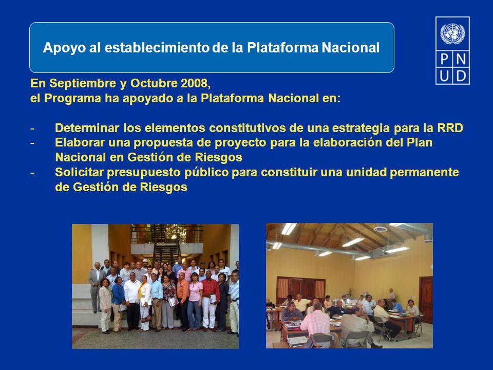 En Septiembre y Octubre 2008, el Programa ha apoyado a la Plataforma Nacional en: -Determinar los elementos constitutivos de una estrategia para la RR