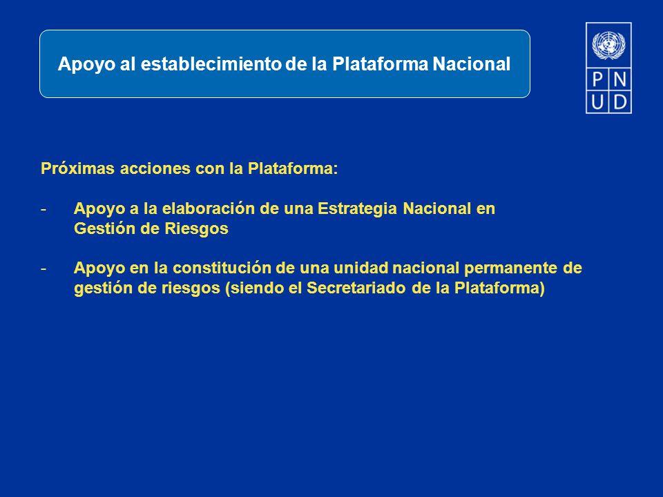 Próximas acciones con la Plataforma: -Apoyo a la elaboración de una Estrategia Nacional en Gestión de Riesgos -Apoyo en la constitución de una unidad