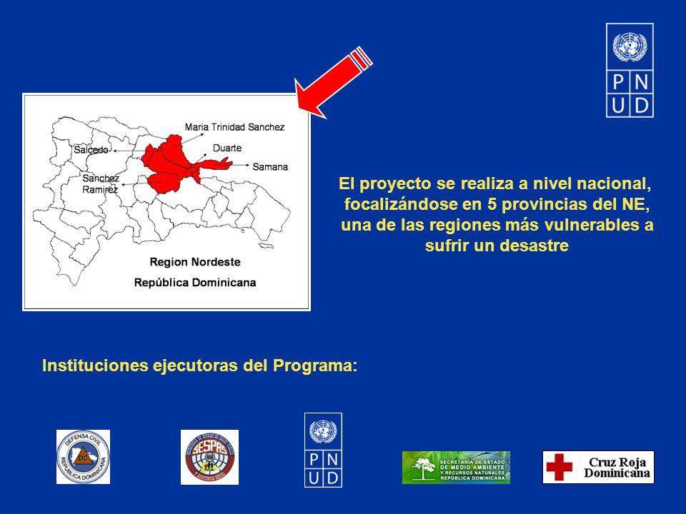 El proyecto se realiza a nivel nacional, focalizándose en 5 provincias del NE, una de las regiones más vulnerables a sufrir un desastre Instituciones