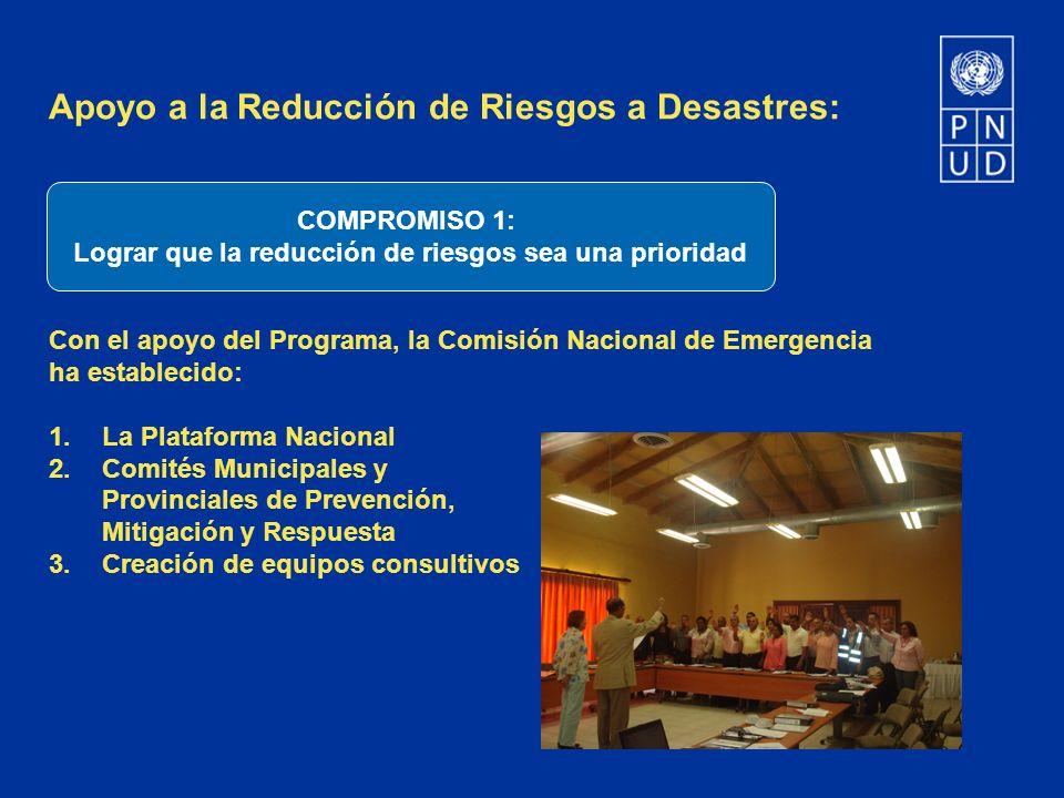 Apoyo a la Reducción de Riesgos a Desastres: Con el apoyo del Programa, la Comisión Nacional de Emergencia ha establecido: 1.La Plataforma Nacional 2.