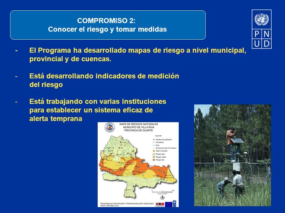 - El Programa ha desarrollado mapas de riesgo a nivel municipal, provincial y de cuencas. -Está desarrollando indicadores de medición del riesgo -Está