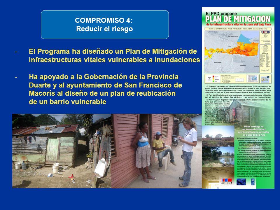 -El Programa ha diseñado un Plan de Mitigación de infraestructuras vitales vulnerables a inundaciones -Ha apoyado a la Gobernación de la Provincia Dua