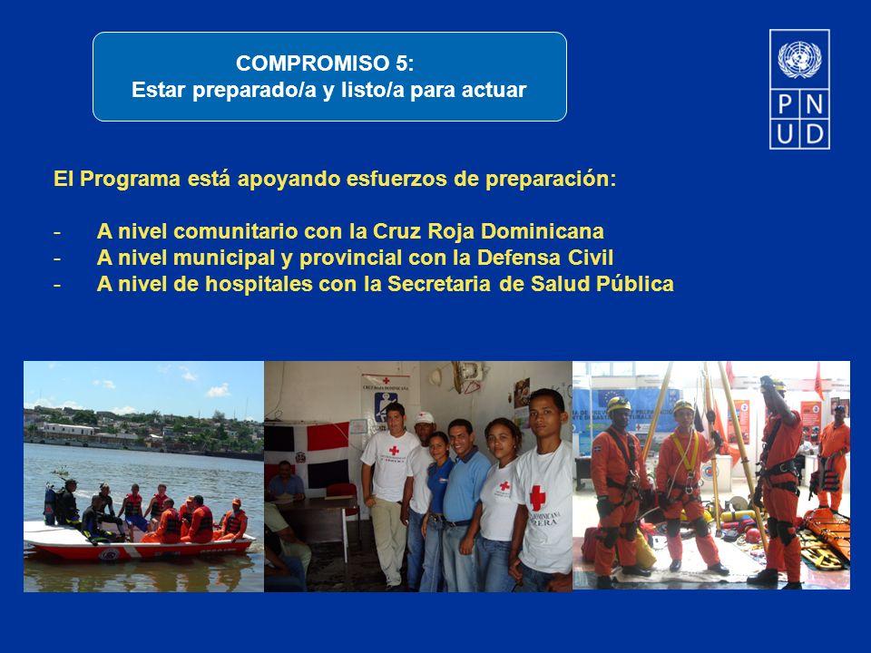 El Programa está apoyando esfuerzos de preparación: -A nivel comunitario con la Cruz Roja Dominicana -A nivel municipal y provincial con la Defensa Ci