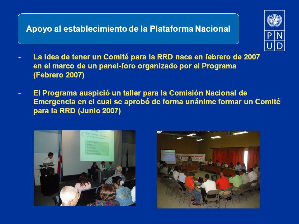 -La idea de tener un Comité para la RRD nace en febrero de 2007 en el marco de un panel-foro organizado por el Programa (Febrero 2007) -El Programa au
