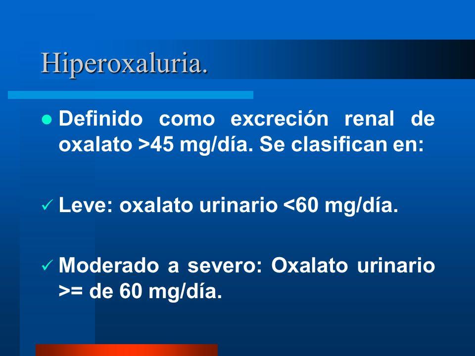 Hiperoxaluria. Definido como excreción renal de oxalato >45 mg/día. Se clasifican en: Leve: oxalato urinario <60 mg/día. Moderado a severo: Oxalato ur
