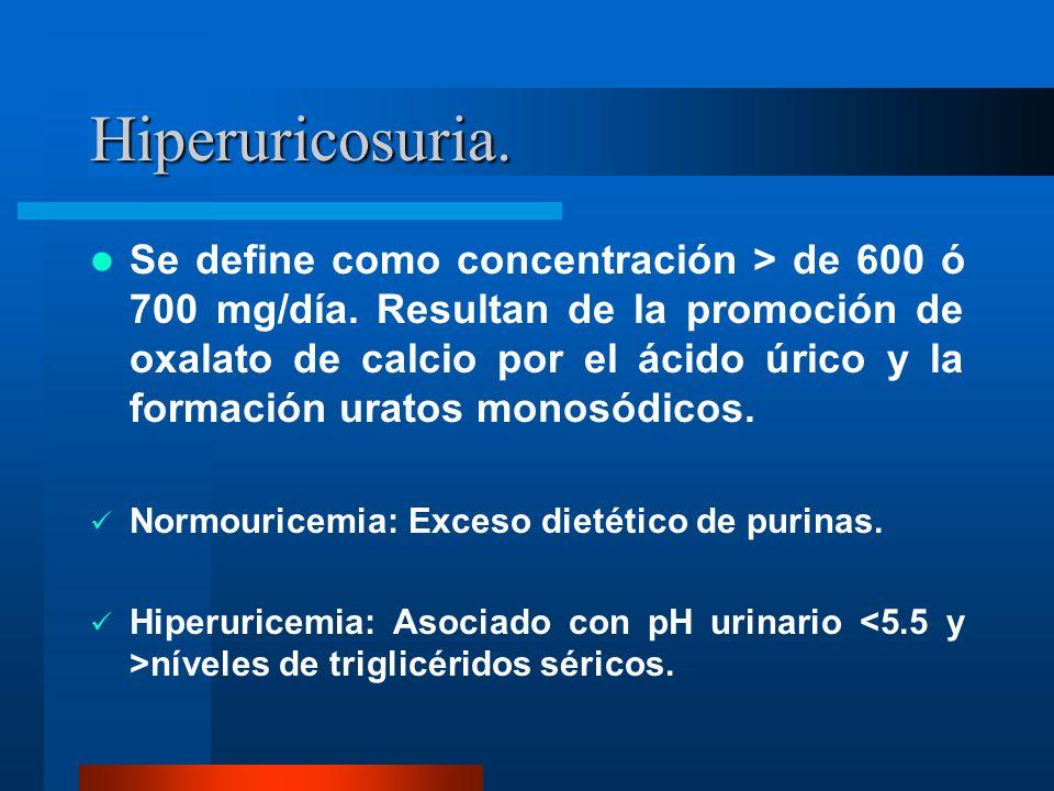 Hiperuricosuria. Se define como concentración > de 600 ó 700 mg/día. Resultan de la promoción de oxalato de calcio por el ácido úrico y la formación u