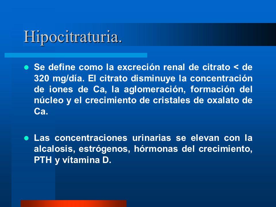 Hipocitraturia. Se define como la excreción renal de citrato < de 320 mg/día. El citrato disminuye la concentración de iones de Ca, la aglomeración, f