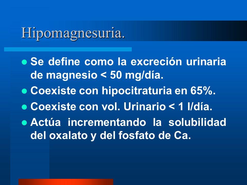 Hipomagnesuria. Se define como la excreción urinaria de magnesio < 50 mg/día. Coexiste con hipocitraturia en 65%. Coexiste con vol. Urinario < 1 l/día