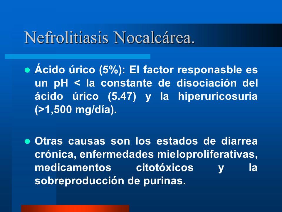 Nefrolitiasis Nocalcárea. Ácido úrico (5%): El factor responasble es un pH 1,500 mg/día). Otras causas son los estados de diarrea crónica, enfermedade