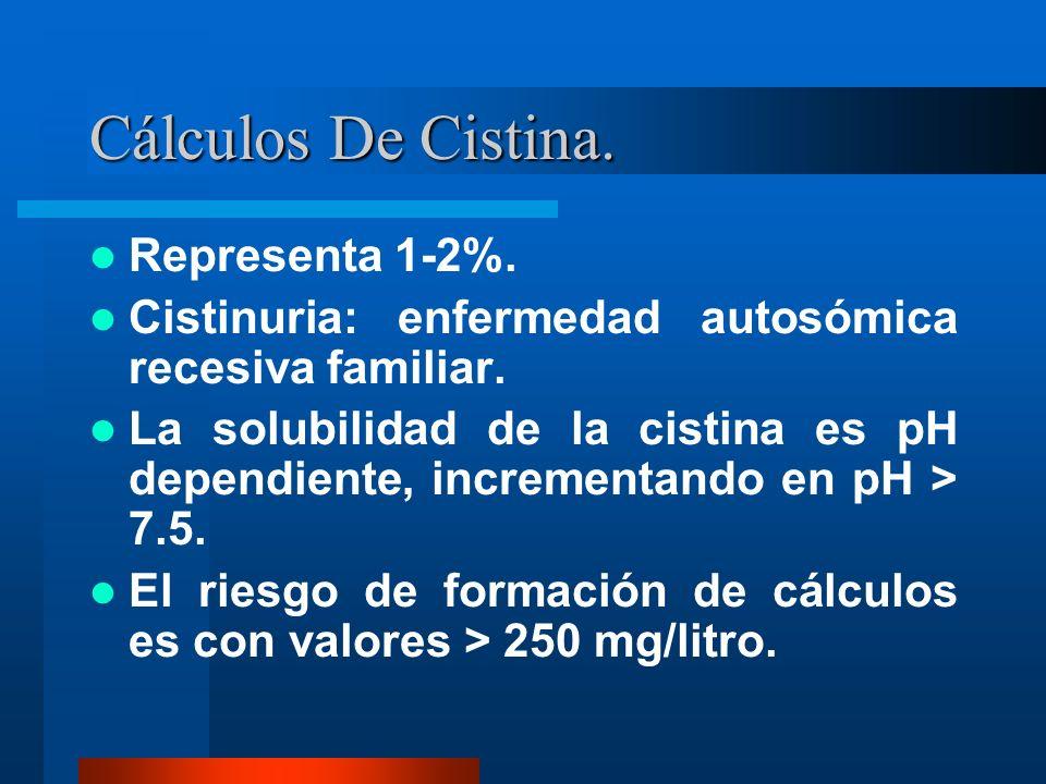 Cálculos De Cistina. Representa 1-2%. Cistinuria: enfermedad autosómica recesiva familiar. La solubilidad de la cistina es pH dependiente, incrementan