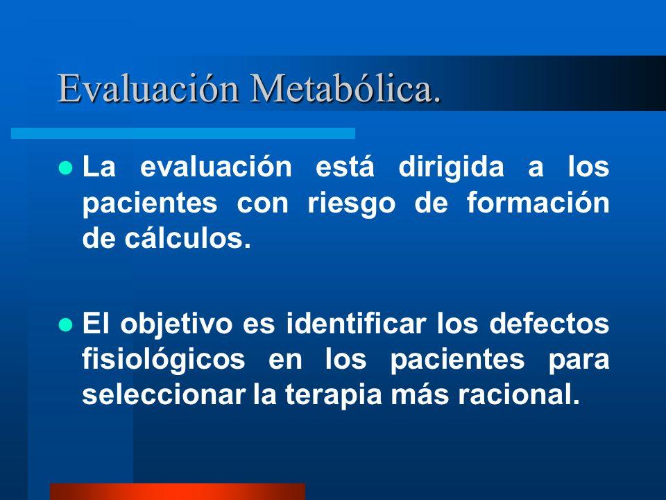 Evaluación Metabólica. La evaluación está dirigida a los pacientes con riesgo de formación de cálculos. El objetivo es identificar los defectos fisiol