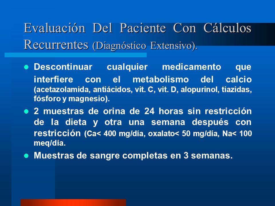 Evaluación Del Paciente Con Cálculos Recurrentes (Diagnóstico Extensivo). Descontinuar cualquier medicamento que interfiere con el metabolismo del cal