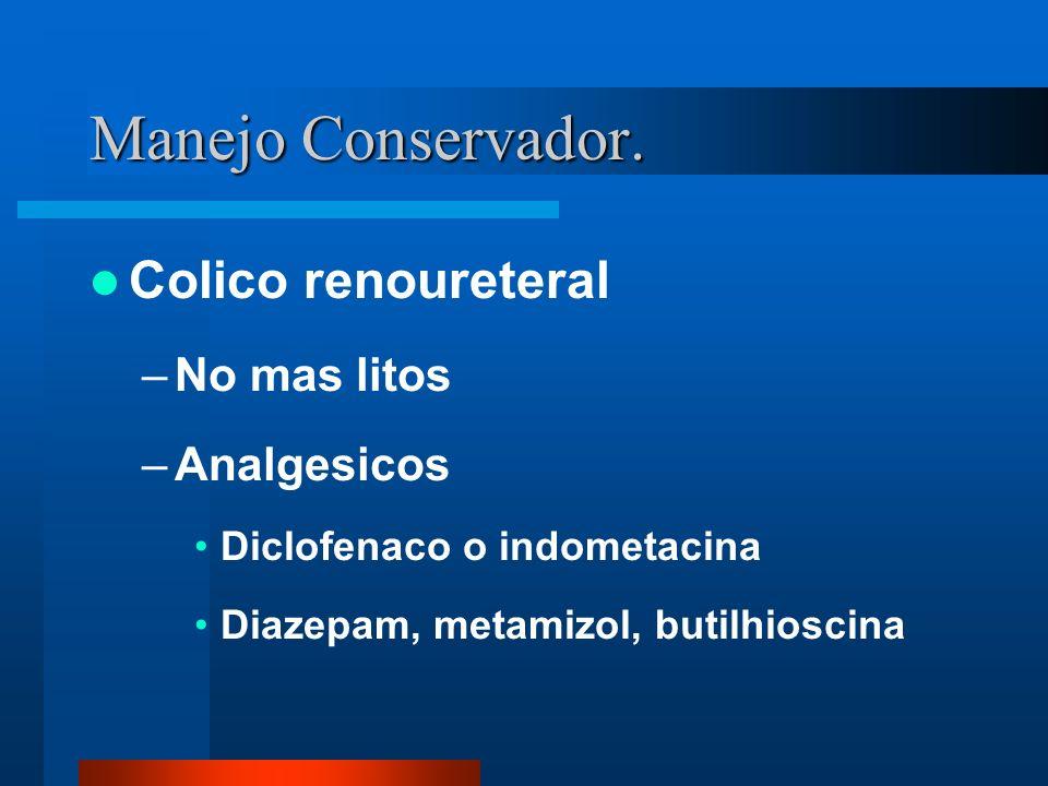 Manejo Conservador. Colico renoureteral –No mas litos –Analgesicos Diclofenaco o indometacina Diazepam, metamizol, butilhioscina