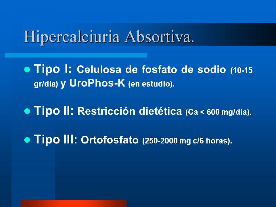 Hipercalciuria Absortiva. Tipo I: Celulosa de fosfato de sodio (10-15 gr/día) y UroPhos-K (en estudio). Tipo II: Restricción dietética (Ca < 600 mg/dí