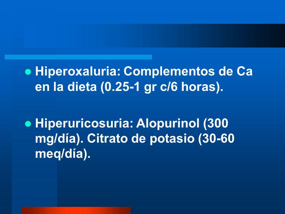 Hiperoxaluria: Complementos de Ca en la dieta (0.25-1 gr c/6 horas). Hiperuricosuria: Alopurinol (300 mg/día). Citrato de potasio (30-60 meq/día).