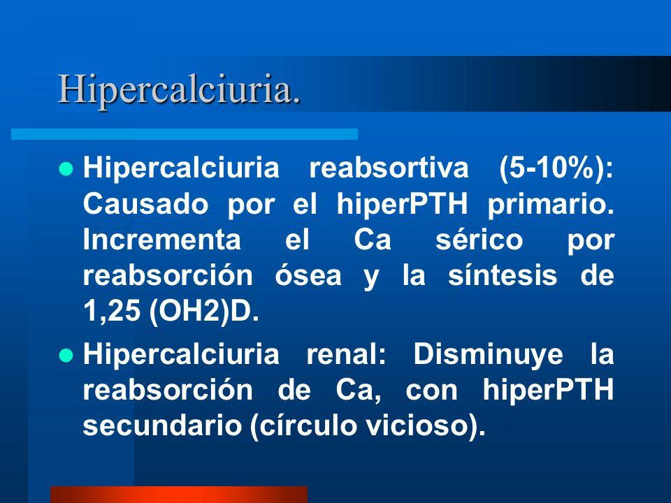 Hipercalciuria. Hipercalciuria reabsortiva (5-10%): Causado por el hiperPTH primario. Incrementa el Ca sérico por reabsorción ósea y la síntesis de 1,