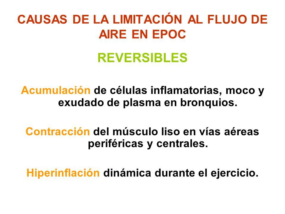 CAUSAS DE LA LIMITACIÓN AL FLUJO DE AIRE EN EPOC REVERSIBLES Acumulación de células inflamatorias, moco y exudado de plasma en bronquios. Contracción