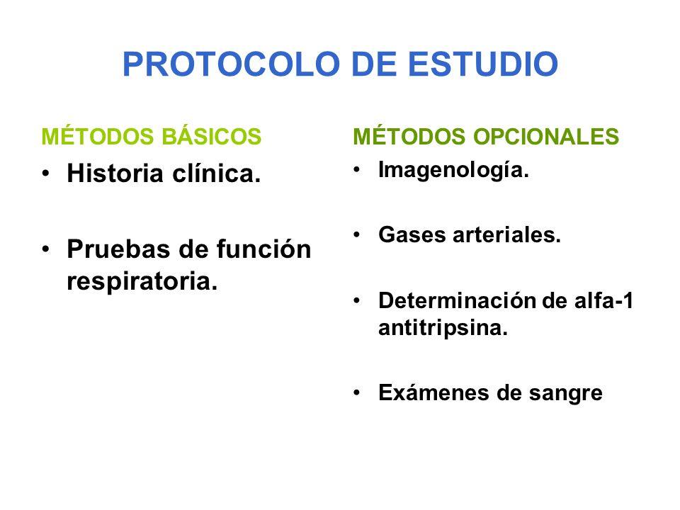 PROTOCOLO DE ESTUDIO MÉTODOS BÁSICOS Historia clínica. Pruebas de función respiratoria. MÉTODOS OPCIONALES Imagenología. Gases arteriales. Determinaci