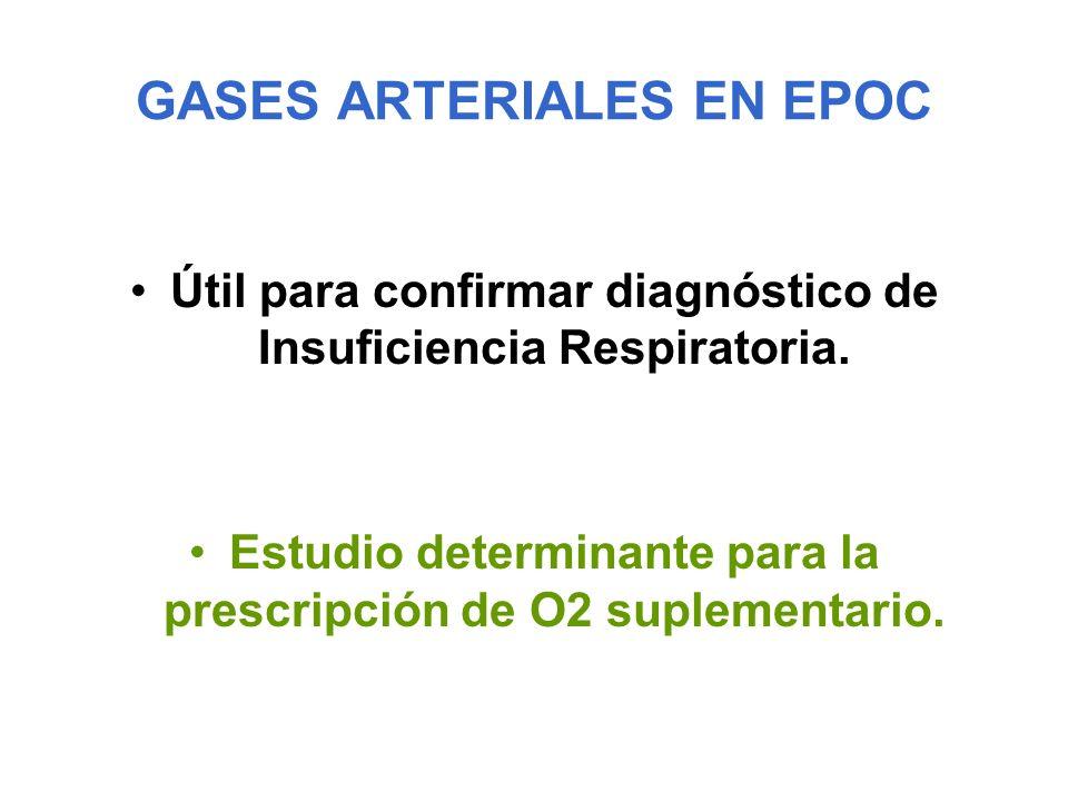 GASES ARTERIALES EN EPOC Útil para confirmar diagnóstico de Insuficiencia Respiratoria. Estudio determinante para la prescripción de O2 suplementario.