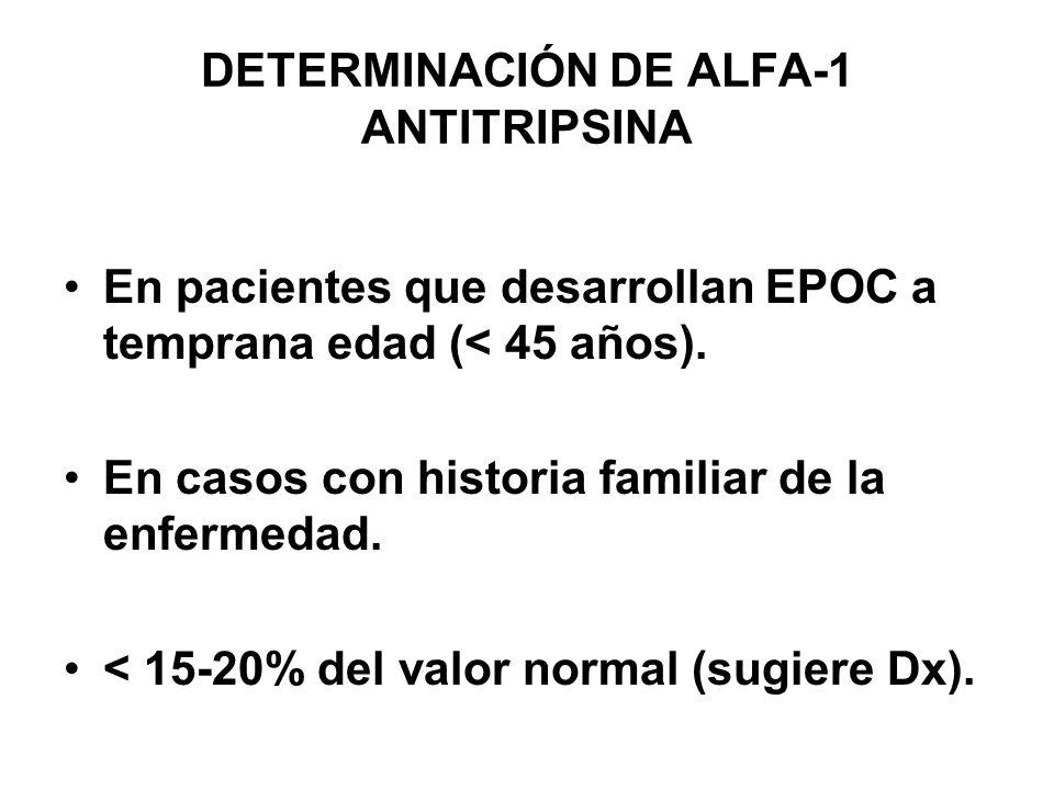 DETERMINACIÓN DE ALFA-1 ANTITRIPSINA En pacientes que desarrollan EPOC a temprana edad (< 45 años). En casos con historia familiar de la enfermedad. <
