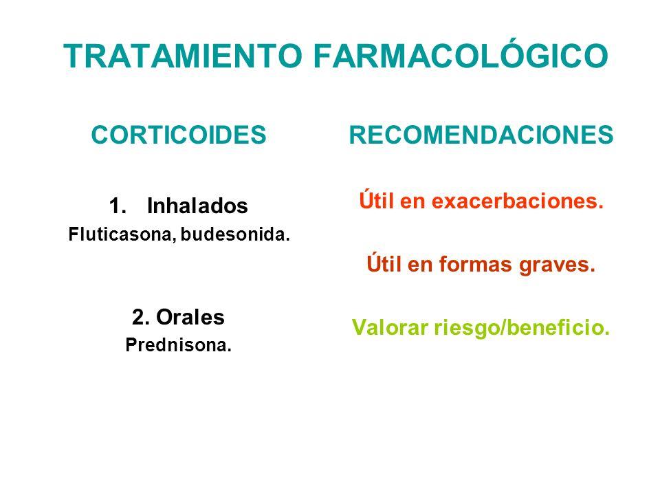 TRATAMIENTO FARMACOLÓGICO CORTICOIDES 1.Inhalados Fluticasona, budesonida. 2. Orales Prednisona. RECOMENDACIONES Útil en exacerbaciones. Útil en forma