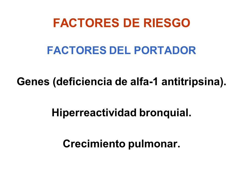 FACTORES DE RIESGO FACTORES DEL PORTADOR Genes (deficiencia de alfa-1 antitripsina). Hiperreactividad bronquial. Crecimiento pulmonar.