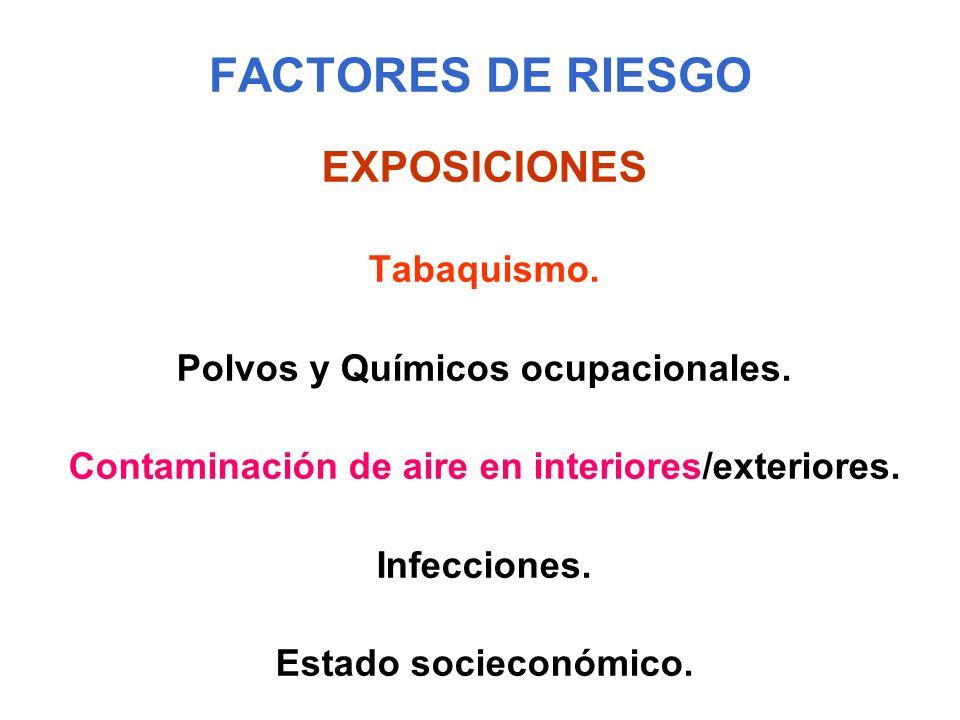 FACTORES DE RIESGO EXPOSICIONES Tabaquismo. Polvos y Químicos ocupacionales. Contaminación de aire en interiores/exteriores. Infecciones. Estado socie