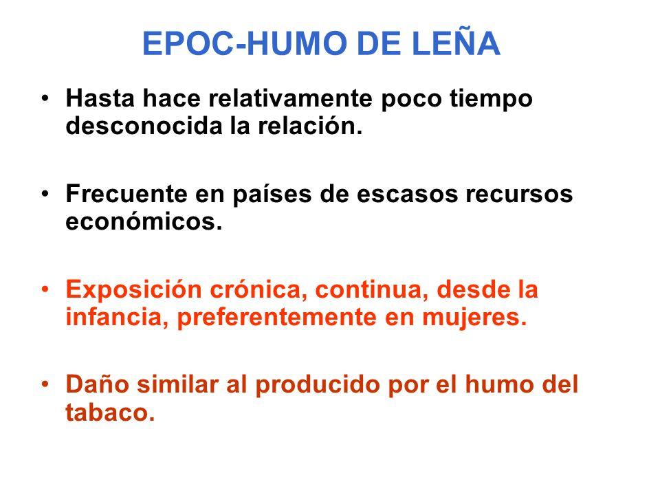 EPOC-HUMO DE LEÑA Hasta hace relativamente poco tiempo desconocida la relación. Frecuente en países de escasos recursos económicos. Exposición crónica