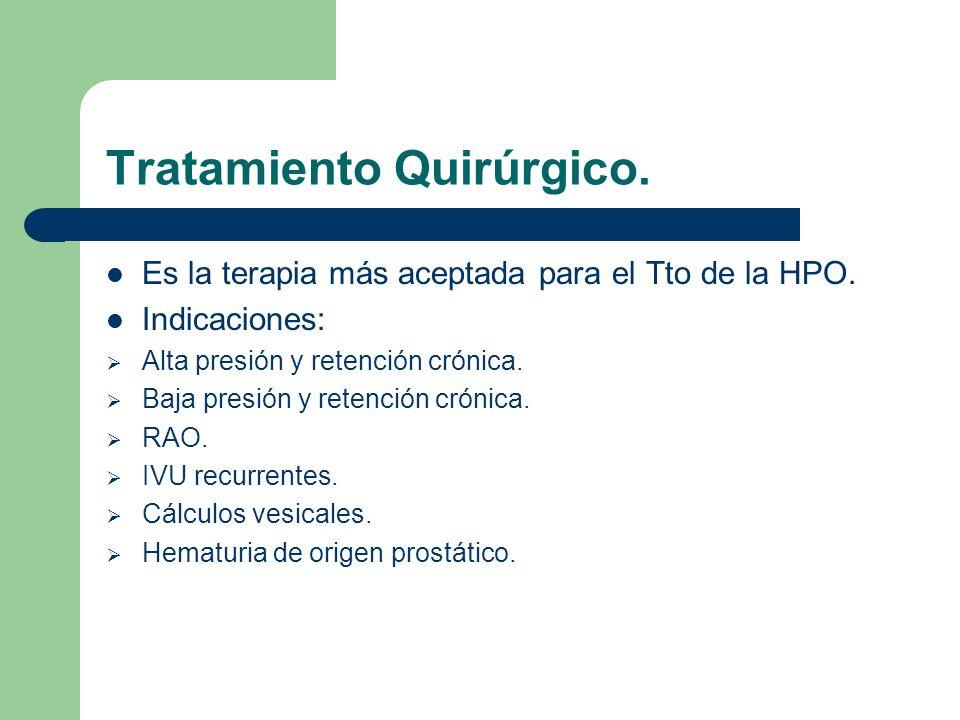 Prostatectomía abierta.10% de las prostatectomías.