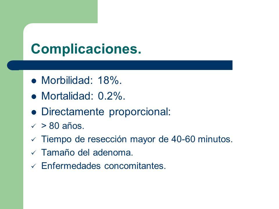 Complicaciones.Impotencia: 10%. Incontinencia: 2%.