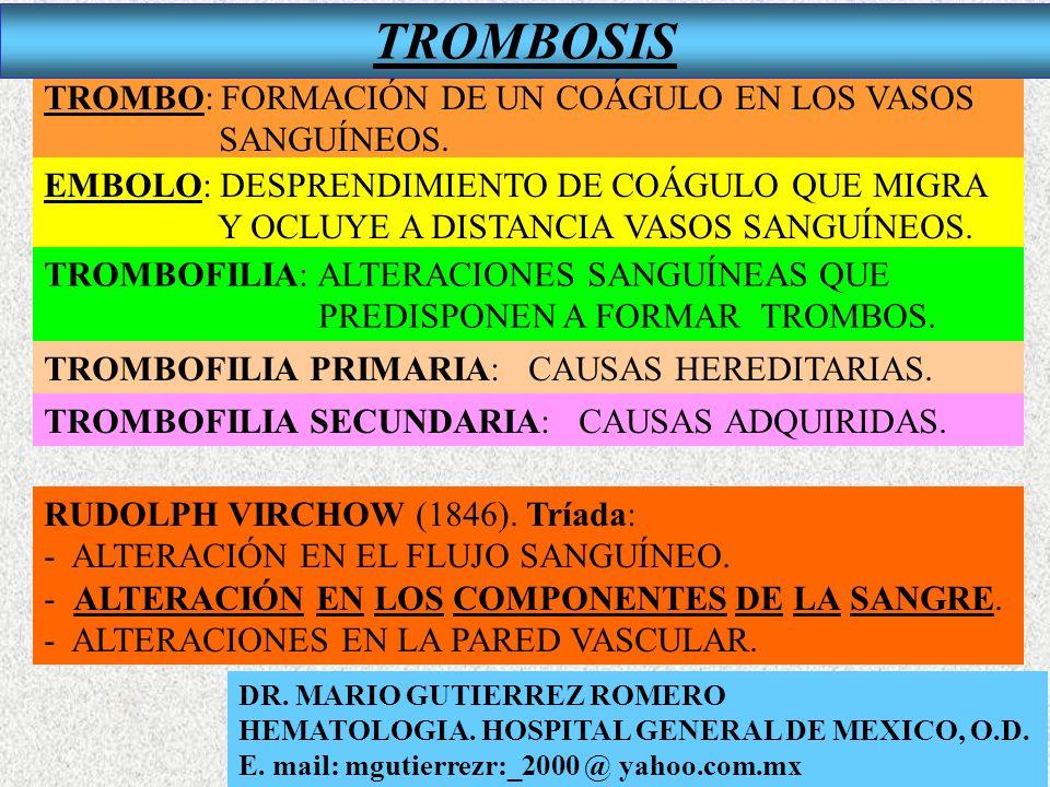 TROMBO: FORMACIÓN DE UN COÁGULO EN LOS VASOS SANGUÍNEOS. EMBOLO: DESPRENDIMIENTO DE COÁGULO QUE MIGRA Y OCLUYE A DISTANCIA VASOS SANGUÍNEOS. TROMBOFIL