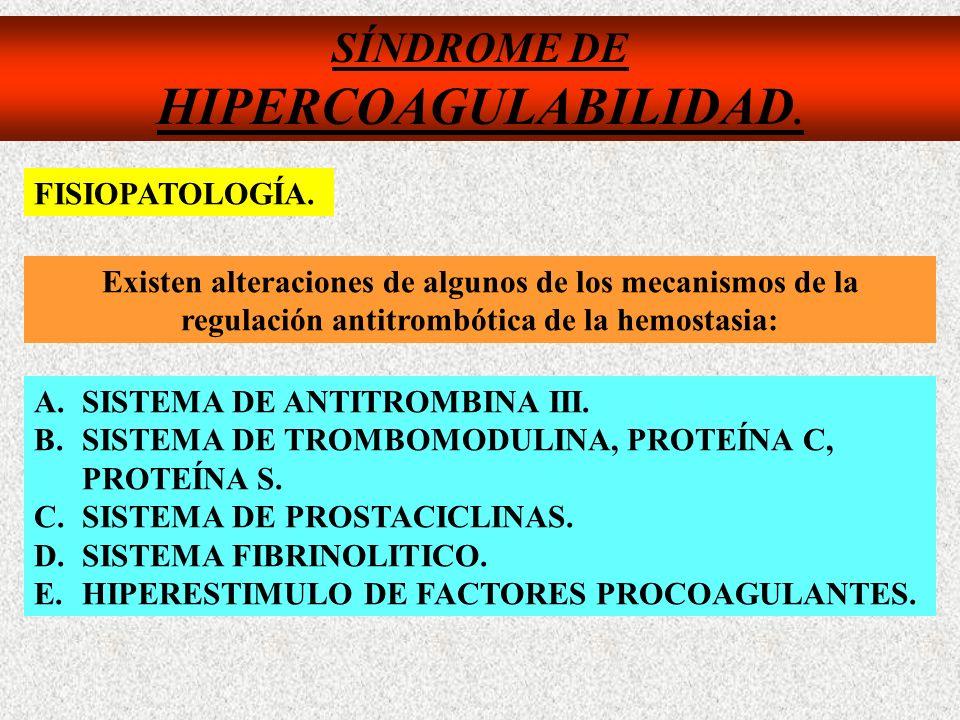 SÍNDROME DE HIPERCOAGULABILIDAD. Existen alteraciones de algunos de los mecanismos de la regulación antitrombótica de la hemostasia: A.SISTEMA DE ANTI