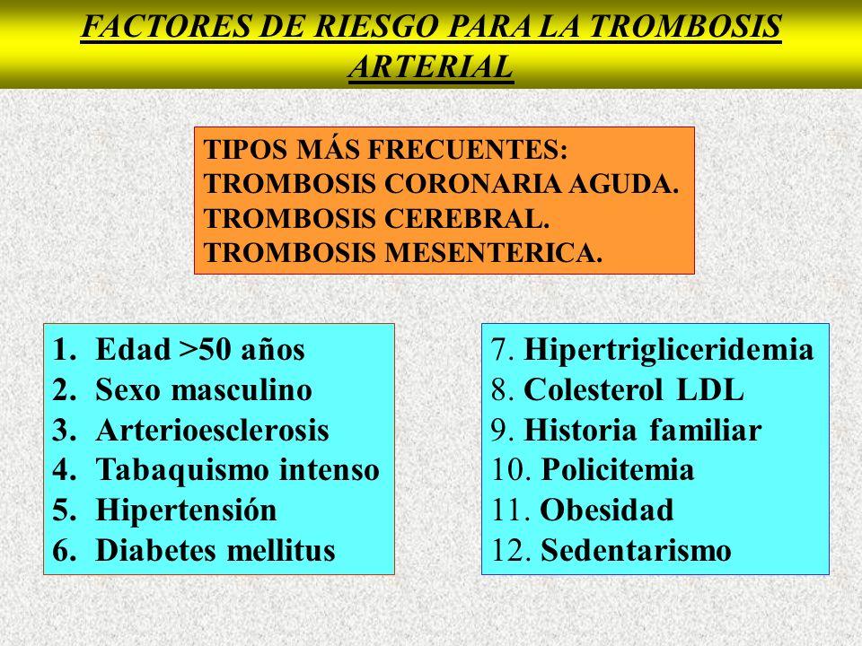 SINDROME DE HIPERCOAGULABILIDAD Cuadro clínico: TROMBOSIS ARTERIAL.