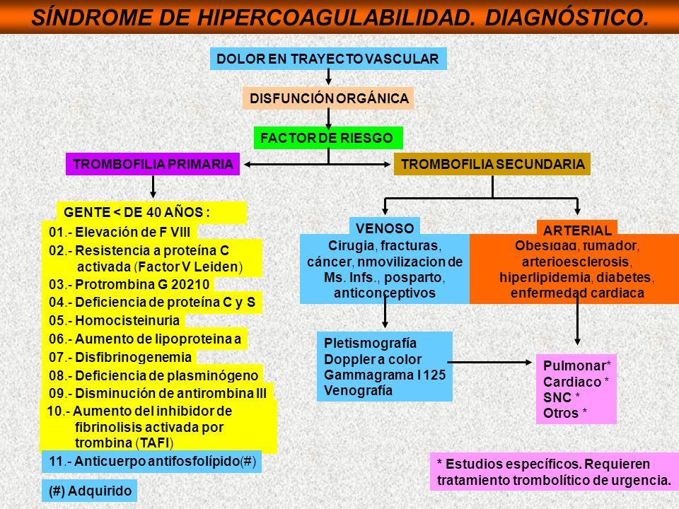 SÍNDROME DE HIPERCOAGULABILIDAD. DIAGNÓSTICO. DOLOR EN TRAYECTO VASCULAR DISFUNCIÓN ORGÁNICA FACTOR DE RIESGO TROMBOFILIA PRIMARIATROMBOFILIA SECUNDAR