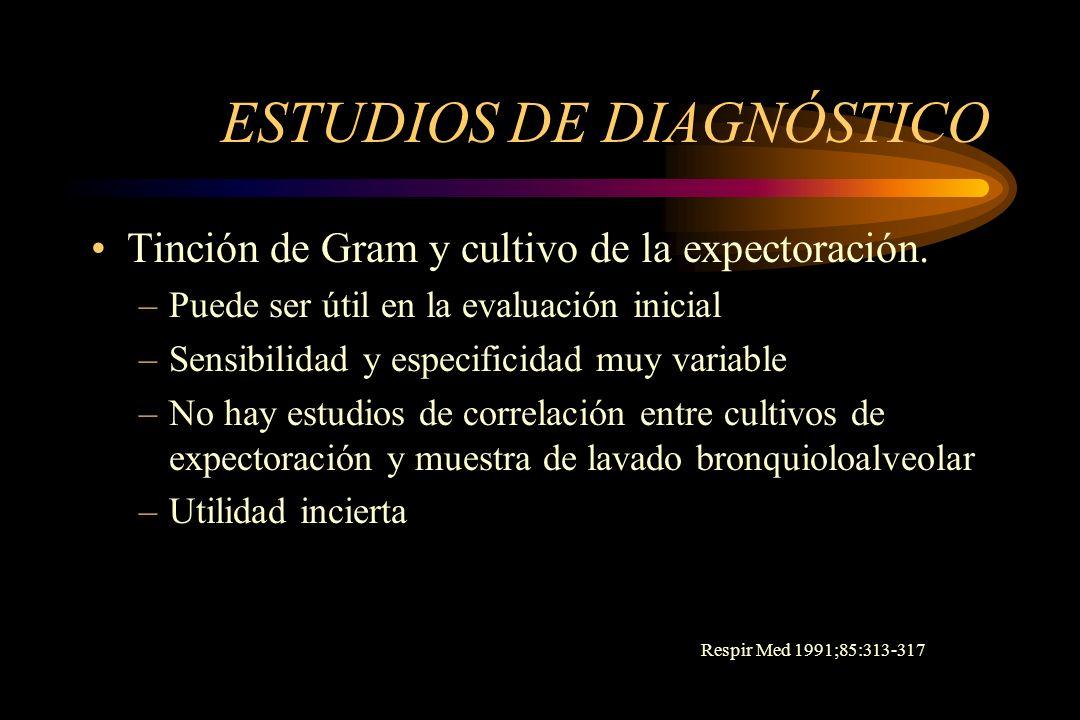 ESTUDIOS DE DIAGNÓSTICO Tinción de Gram y cultivo de la expectoración. –Puede ser útil en la evaluación inicial –Sensibilidad y especificidad muy vari