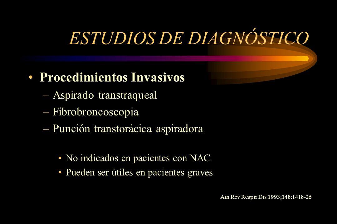 ESTUDIOS DE DIAGNÓSTICO Procedimientos Invasivos –Aspirado transtraqueal –Fibrobroncoscopia –Punción transtorácica aspiradora No indicados en paciente