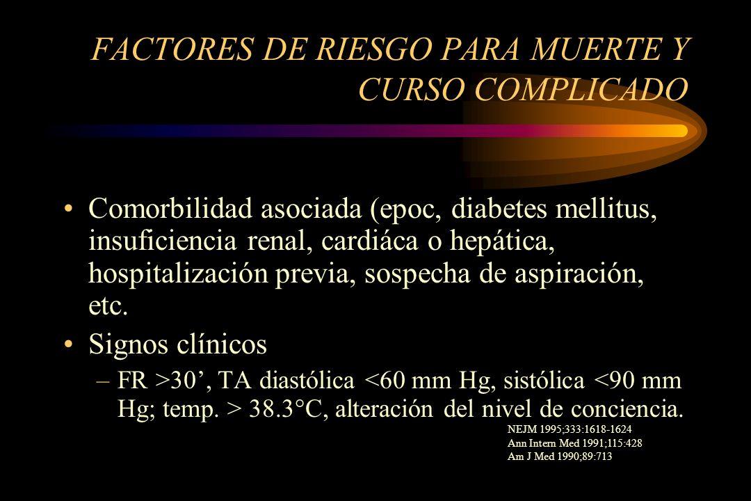 FACTORES DE RIESGO PARA MUERTE Y CURSO COMPLICADO Comorbilidad asociada (epoc, diabetes mellitus, insuficiencia renal, cardiáca o hepática, hospitaliz