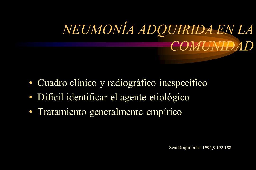 NEUMONÍA ADQUIRIDA EN LA COMUNIDAD Cuadro clínico y radiográfico inespecífico Difícil identificar el agente etiológico Tratamiento generalmente empíri