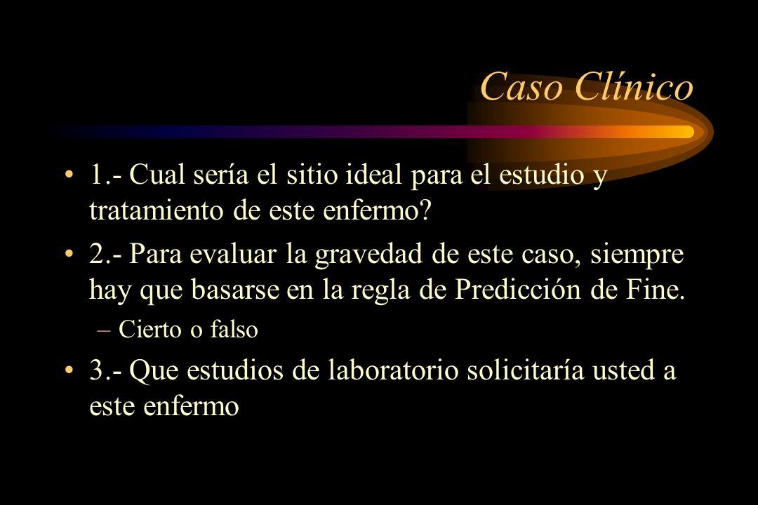 Caso Clínico 1.- Cual sería el sitio ideal para el estudio y tratamiento de este enfermo? 2.- Para evaluar la gravedad de este caso, siempre hay que b