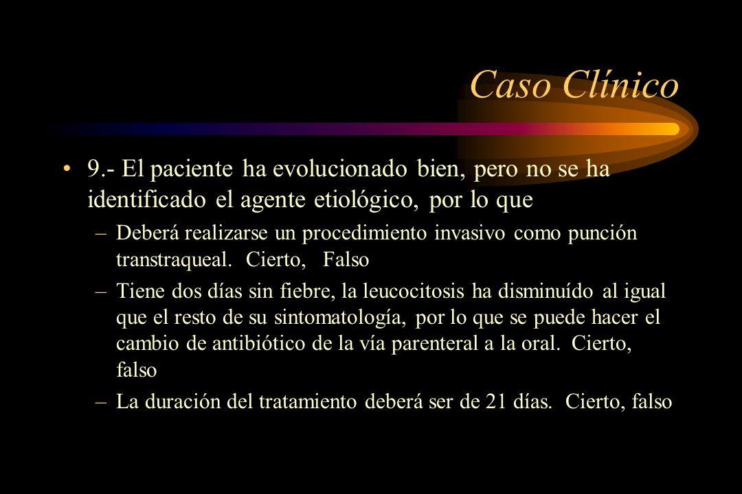 Caso Clínico 9.- El paciente ha evolucionado bien, pero no se ha identificado el agente etiológico, por lo que –Deberá realizarse un procedimiento inv