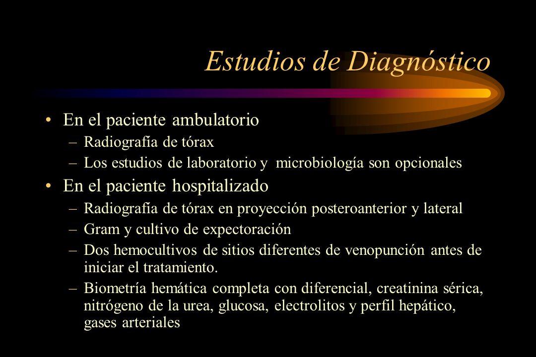 Estudios de Diagnóstico En el paciente ambulatorio –Radiografía de tórax –Los estudios de laboratorio y microbiología son opcionales En el paciente ho