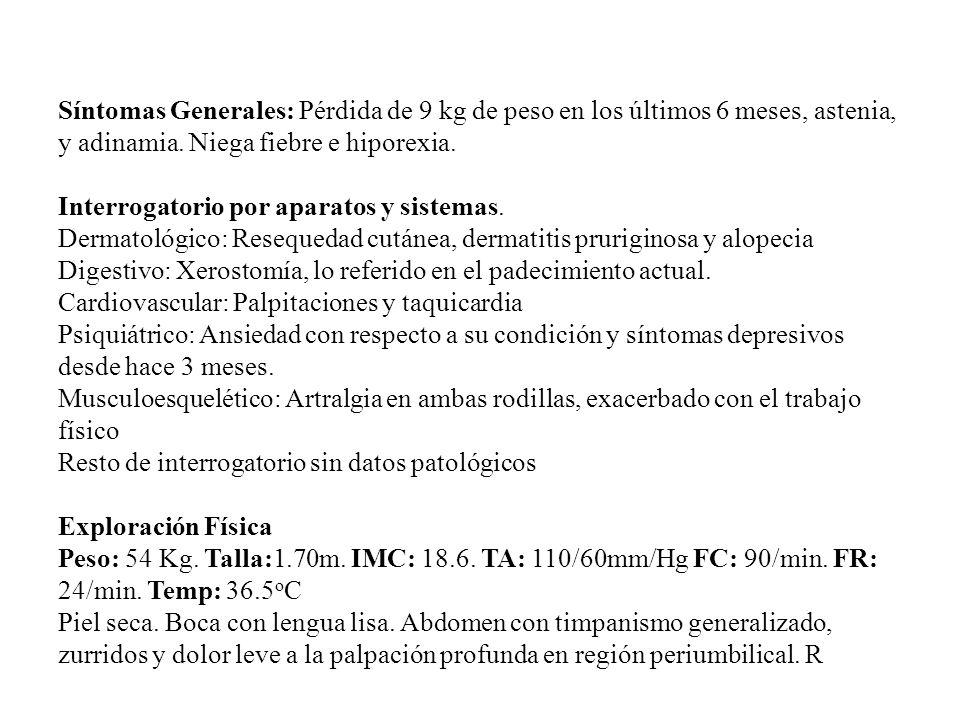 Estudios de Laboratorio y Gabinete Hb: 10.3 g/dL; Hcto: 31.6%, VCM:73 fL, Leucos: 5300, Plaquetas: 459,000 Bilirrubinas Totales 1 mg / dL.