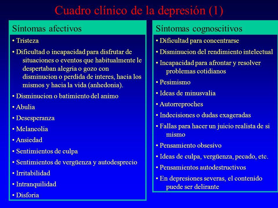 Cuadro clínico de la depresión (1) Síntomas afectivos Tristeza Dificultad o incapacidad para disfrutar de situaciones o eventos que habitualmente le d