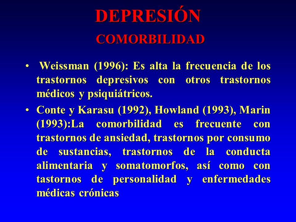 DEPRESIÓN COMORBILIDAD Weissman (1996): Es alta la frecuencia de los trastornos depresivos con otros trastornos médicos y psiquiátricos. Weissman (199