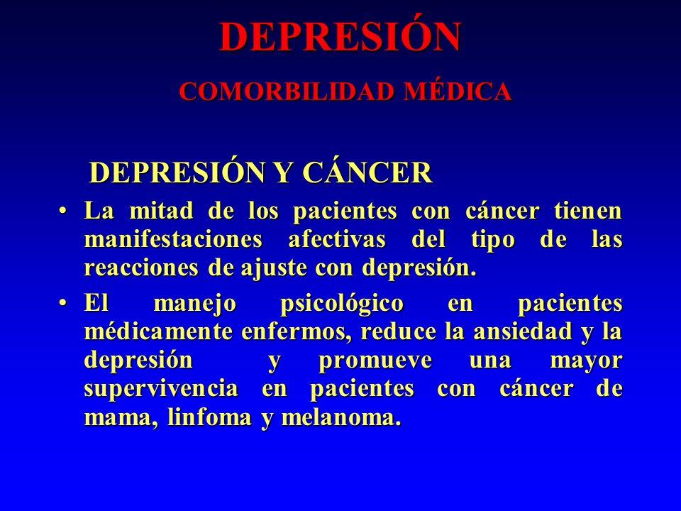 DEPRESIÓN COMORBILIDAD MÉDICA DEPRESIÓN Y CÁNCER DEPRESIÓN Y CÁNCER La mitad de los pacientes con cáncer tienen manifestaciones afectivas del tipo de