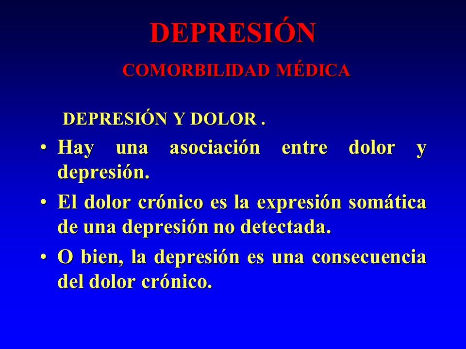 DEPRESIÓN COMORBILIDAD MÉDICA DEPRESIÓN Y DOLOR. DEPRESIÓN Y DOLOR. Hay una asociación entre dolor y depresión.Hay una asociación entre dolor y depres