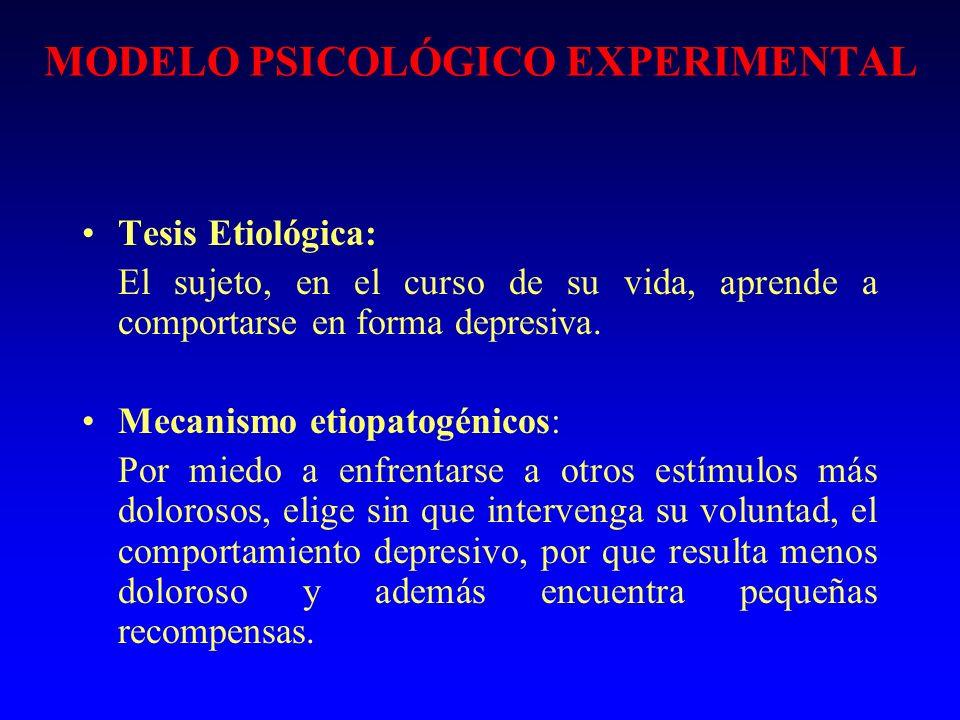 MODELO PSICOLÓGICO EXPERIMENTAL Tesis Etiológica: El sujeto, en el curso de su vida, aprende a comportarse en forma depresiva. Mecanismo etiopatogénic
