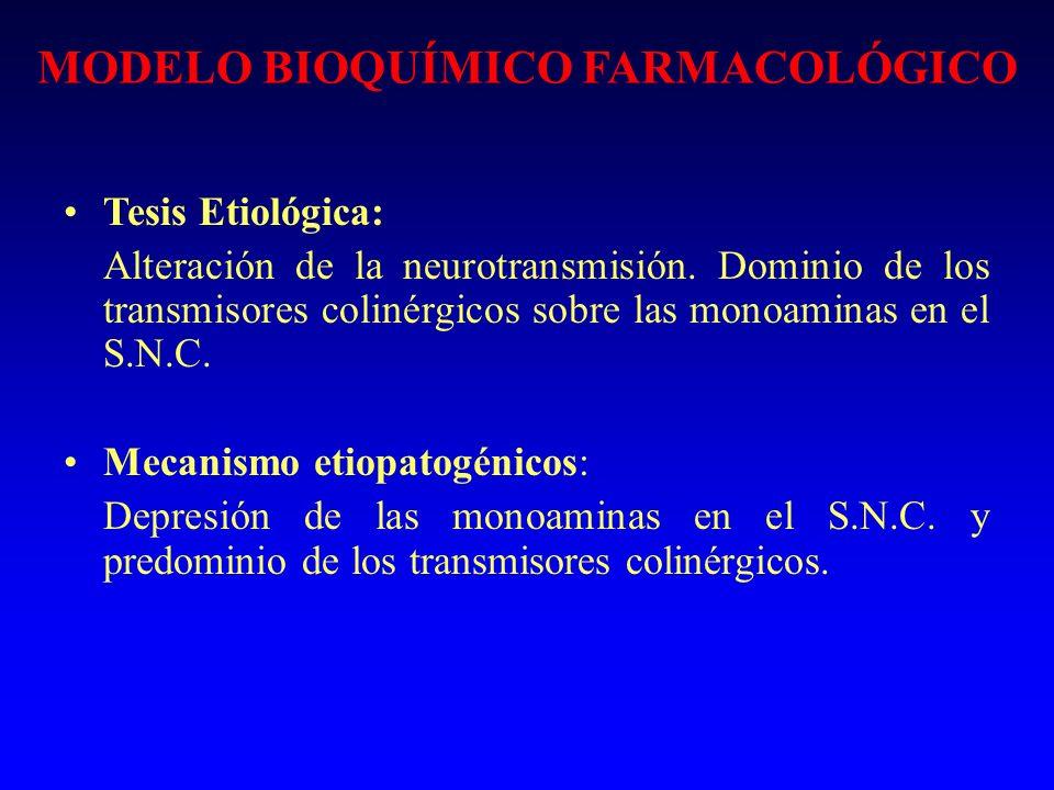 MODELO BIOQUÍMICO FARMACOLÓGICO Tesis Etiológica: Alteración de la neurotransmisión. Dominio de los transmisores colinérgicos sobre las monoaminas en