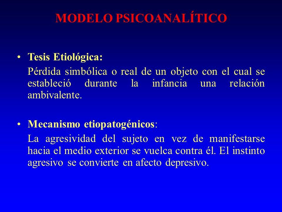 MODELO PSICOANALÍTICO Tesis Etiológica: Pérdida simbólica o real de un objeto con el cual se estableció durante la infancia una relación ambivalente.